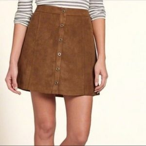 Hollister brown faux suede mini skirt size XS